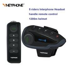 Intercomunicador para capacete de motocicleta v8 bt, alcance de 1200m para 5 pilotos, interfone, controle remoto, rádio fm