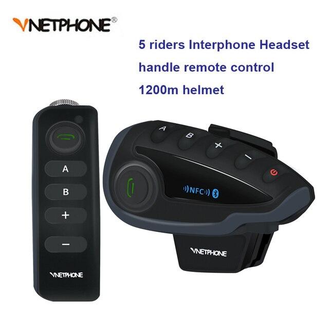 V8 oreillette Bluetooth pour moto, appareil de communication BT pour casque, Interphone portée 1200M pour 5 motocyclistes, kit mains libres, télécommande avec radio FM