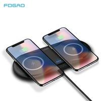 10 Вт двойное Беспроводное зарядное устройство для iPhone XS XR X 8 AirPods Qi двойная быстрозарядная станция для samsung S10 S9 S8 Galaxy Buds
