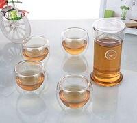 1x Hittebestendig Glas Thee Set 200 ml Hittebestendige Glas Dubbele Oren Theepot + 4x Double Wall Thee cups 90ml Theesets Huis & Tuin -
