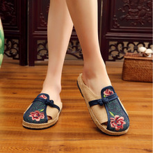 2019 New Flower Embroidered Handmade Women Linen Cotton Flat Espadrilles Slippers Summer Retro Ladies Casual Comfort Mules Shoes недорого
