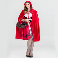 Free shipping Halloween Little Red Riding Hood Costume Adult Cosplay party night club queen dress Euro and American game clothes