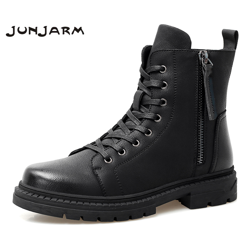JUNJARM Fashion Motocycle Boots Mens Winter Shoes High Quality Men Work Boots Warm Men Snow Boots Men Ankle Boots Big Size 38-46