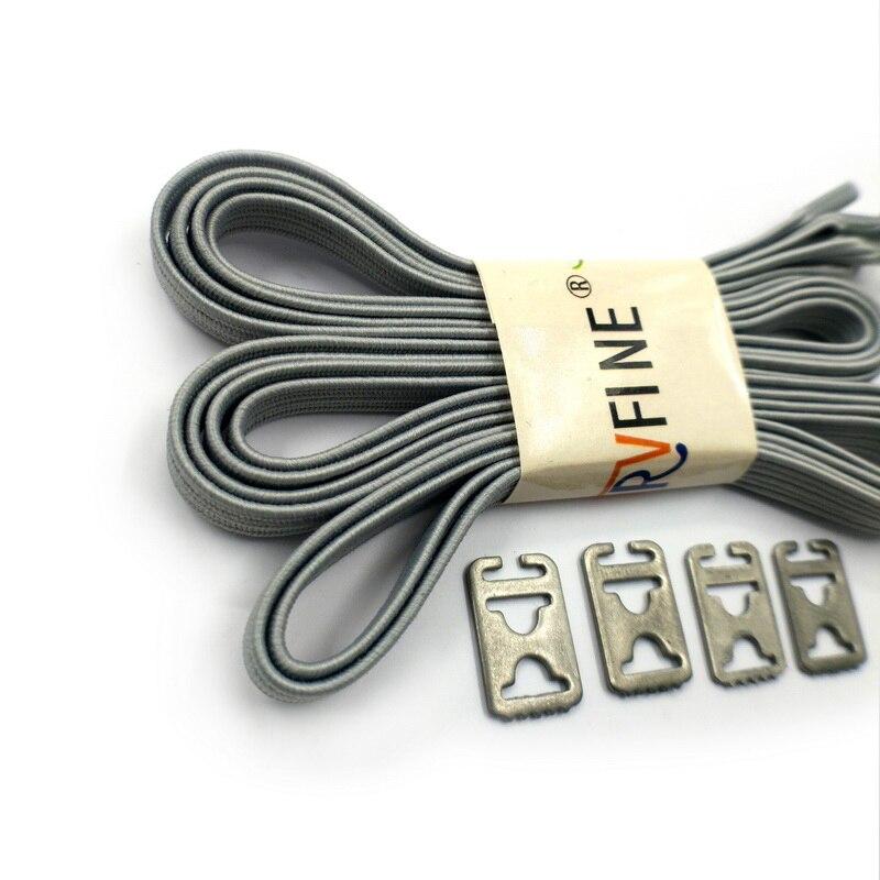 1 Pair Lock Laces Elastic No Tie Shoelaces Grey Adult Kids Sneaker Metal Buckle Shoelace Sport Athletic Shoe Laces Strings Rope