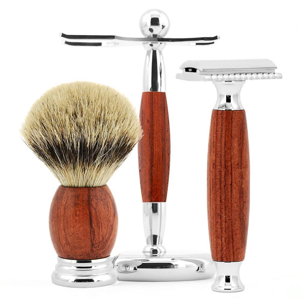 Grandslam palissandre lame de rasage rasoir de sécurité coffret cadeau meilleur blaireau cheveux rasage brosse Kit rasoir manuel socle pour rasoir Kits de support - 4