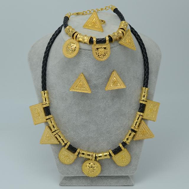 TRIÁNGULO PENDIENTES, Nuevo Diseño de la Joyería conjunto Chapado En Oro de Etiopía Eritrea Habesha conjuntos de Etiopía Joyería de La Boda de Regalo #007906