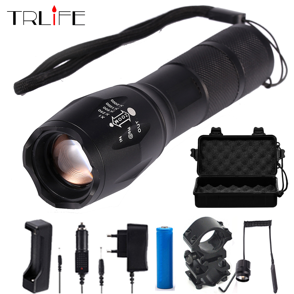 LED lommelygte 10000Lumens T6 / L2 / V6 Lampekugle Taktisk lommelygte Hunting Flash Light Torch Lamp + 18650 Batteri + Oplader + Gun Mount