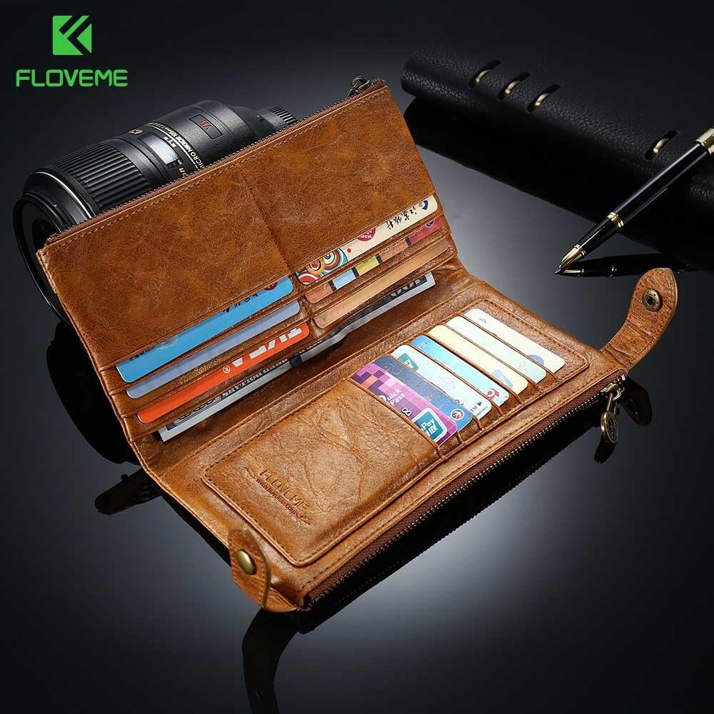 """bilder für Floveme 5,5 """"universal leder brieftasche case für iphone 7 6 6 s 5 5 s se plus für samsung galaxy s8 s8 plus s5 s6 s7 kanten phone tasche"""