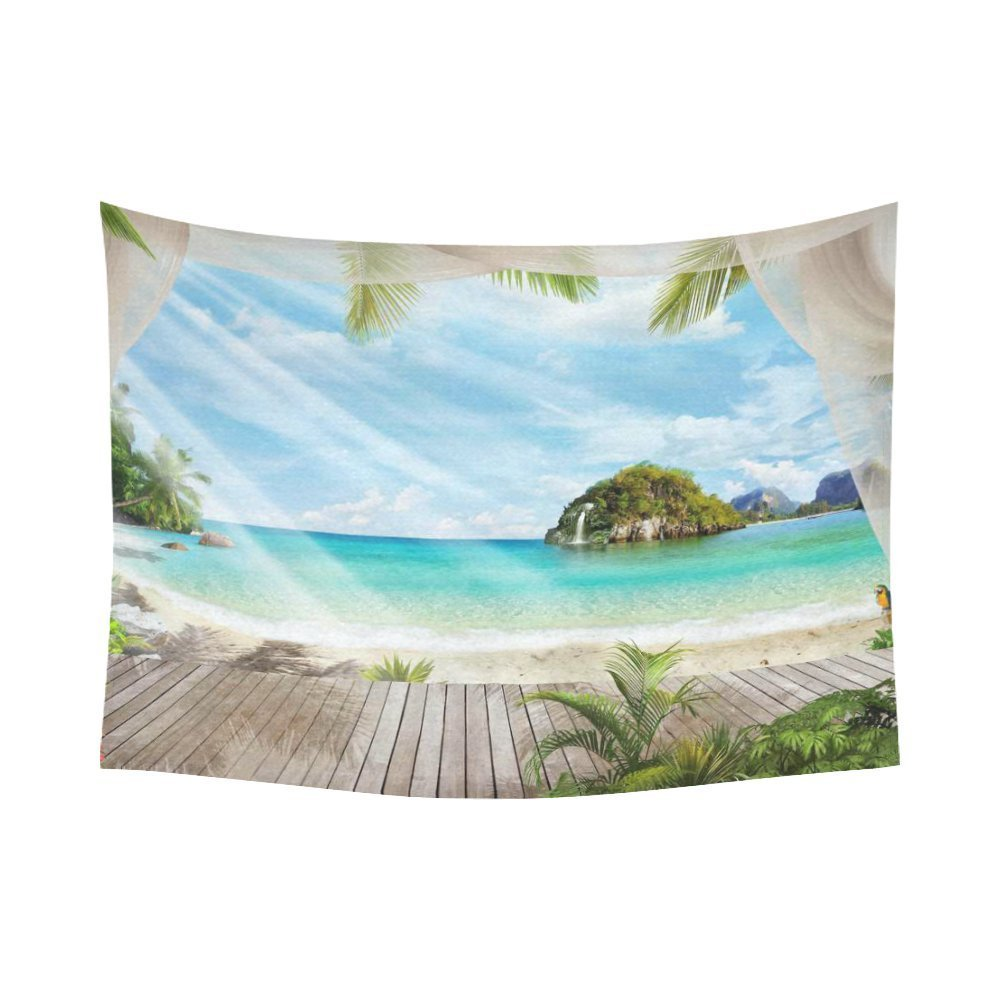 Tropical Seascape Wall Art Home Decor, Ocean Island Paradise Beach with the Palm Tree Tapestry Wall Hanging Art Sets