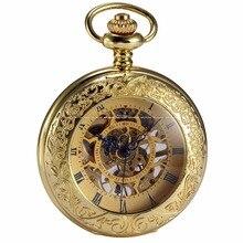 Steampunk Skeleton Golden Roman Male Clock Mechanical Copper Hunter Nurse Vintage Pendant Pocket Watch Chain Jewelr Gift/WPK166