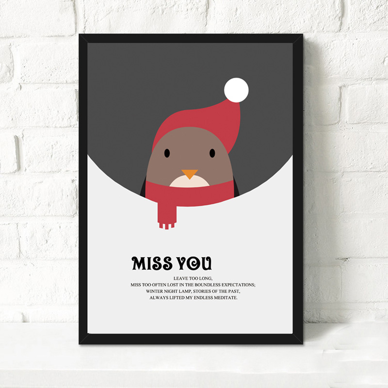 Miss You And Merry Christmas Canvas Art Print Poster Cute Cartoon ...