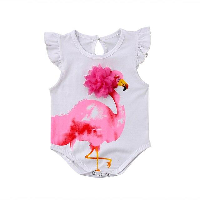40c78121ba9 Cute Newborn Baby Girl Flamingo Clothes Ruffles Sleeve Cartoon Animal Princess  Girls Romper Jumpsuit Outfits Sunsuit 0-18M
