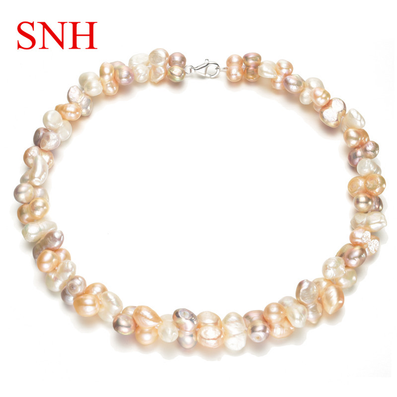 SNH 10-11mm baroque 20inches Amazing natural freshwater pearl necklace for women amazing women
