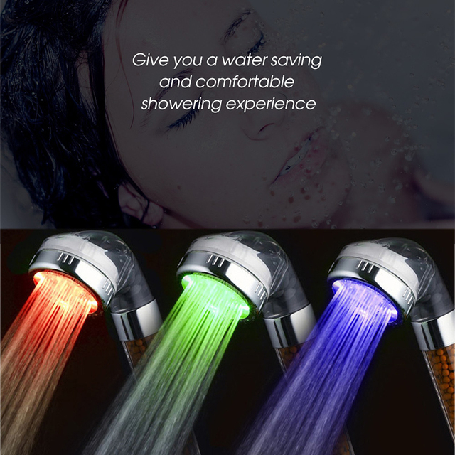 GINETARR 3 Colors LED Changing Shower Head Temperature Sensing ...
