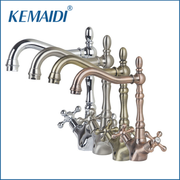 KEMAIDI Dual Handles Solid Brass Antique Copper Faucets Mixers &Taps Swivel Hot And Cold Mixer Water Tap Bathroom Faucet DS-8632