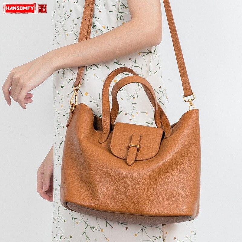 HANSOMFY nouvelles femmes sacs à main de luxe mode femme en cuir véritable berceau épaule sac fourre-tout simple polyvalent Messenger sacs