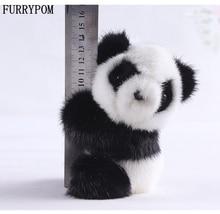 Real mink panda handbags pendant Cute animal fur key chain Synthetic leather keychains car interiors pendant