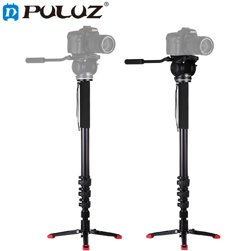 PULUZ Aluminum Alloy Camera Monopod with Mini Tripod Hydraulic Damping Gimbal For Canon Nikon Sony DSLR Unipod for Photography retractable aluminum alloy handheld monopod unipod for digital camera blue silver black