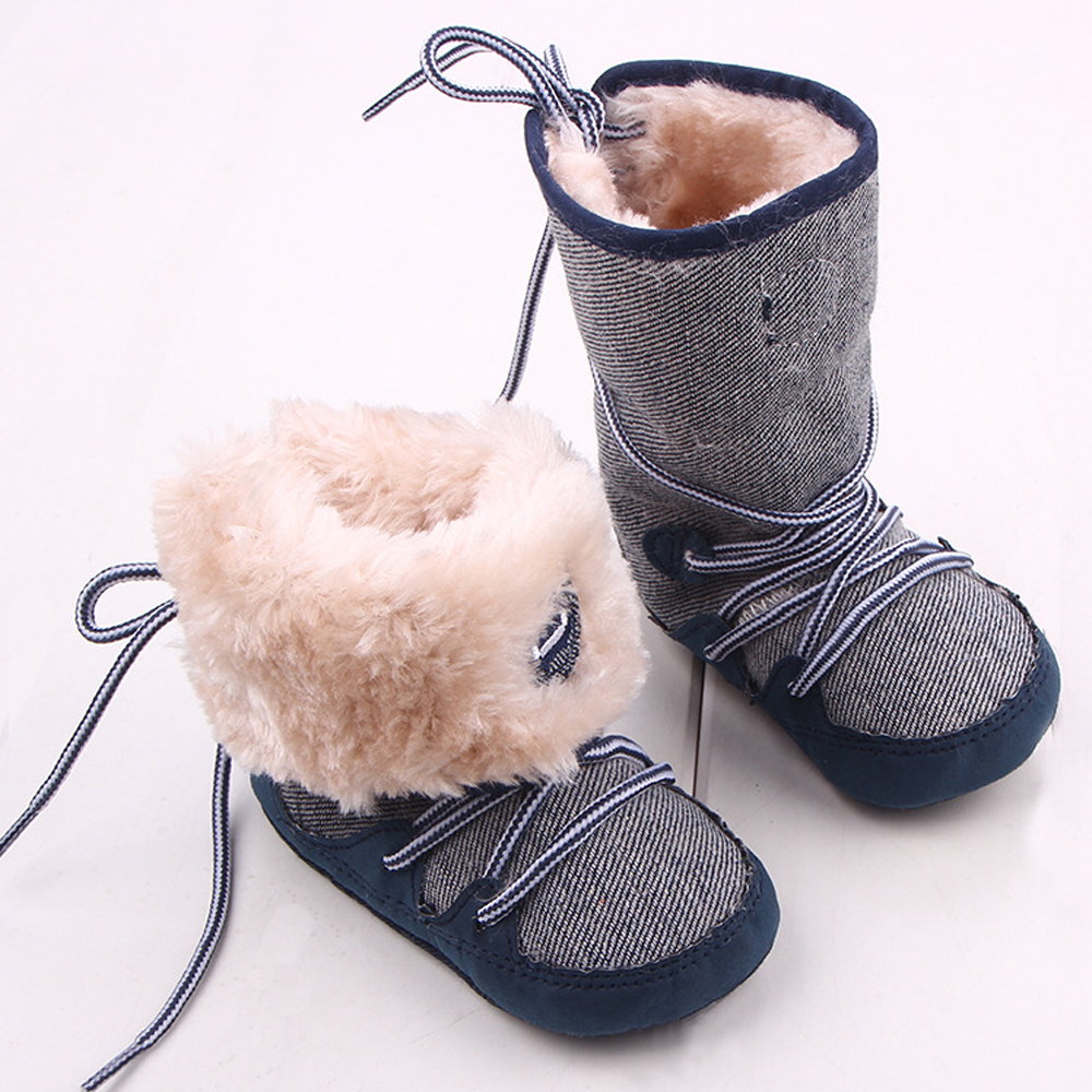 10fc85c71 Baby Boy Winter Warm Snow Boots Canvals Lace Up Soft Sole Shoes ...
