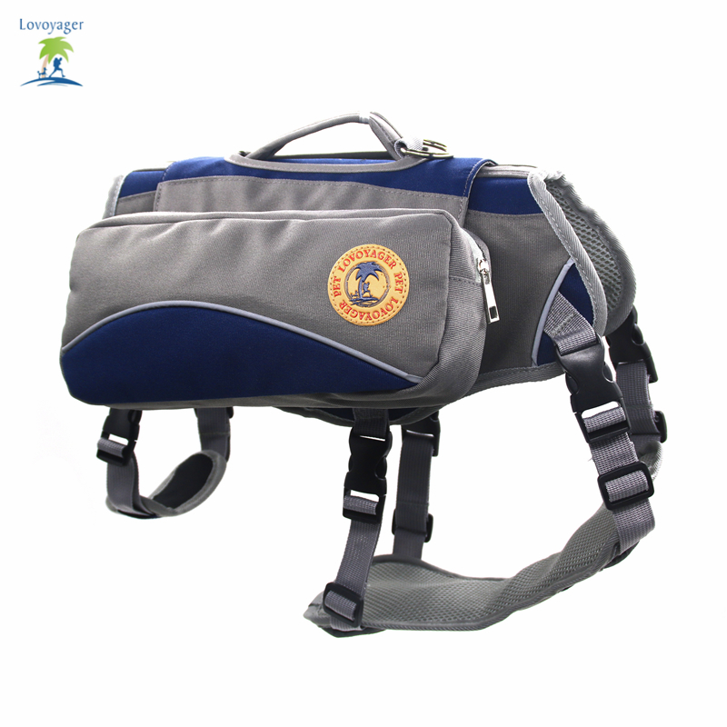 Outdoor Dog Saddle Bag Pet Backpack Harness Multifunctional training hiking pouch for large dog