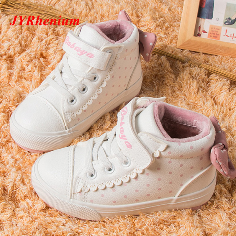 New Bow Kids Sneakers 18-38 Size Toddler Girl Youth Girls Teens Child Sport Shoes bottes filles Botas de meninas botas de nieve цена