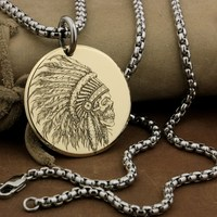 LINSION High Detail Deep Laser Engraved Dia 35mm Round Brass Indian Chief Skull Pendant Biker Punk