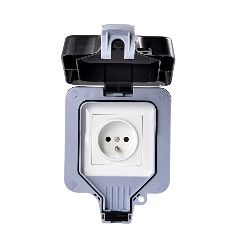 IP66 16A 250V IP44 EU Outdoor Power Socket Black White France Waterproof Socket French Cable Outlet With Cover