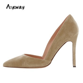 Aiyoway Women Pumps High Heels Faux Suede Pointed Toe Autumn Spring Party Female Summer Shoes Slip-On  Big Size Beige Green Grey