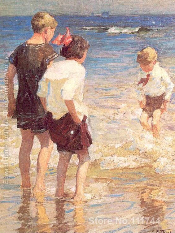 People paintings Children at Shore No. 3 Edward Henry Potthast oil on canvas Handmade High quality