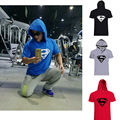 Fitness Mens Superman Iconic Hoodie T Shirt Bodybuilding Stringers Short Sleeve Tops Crew Neck Gold's Gyms Musclefitting Tee Man