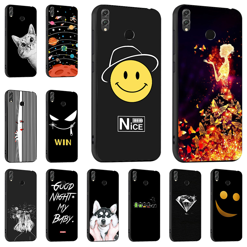 Fashion Painted Black Case For Huawei Honor 10 Lite 8X Max 8X Silicon Soft TPU Cover Coque For Huawei P Smart 2019 Bumper Funda image