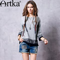 Artka Women's Spring New 3 Colors Ethnic Embroidery All-match T-shirt O-Neck Three Quarter Sleeve Tees With Tassels TA10366Q