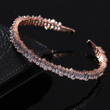 New Famous Brand Rose Gold Bangles AAA+ Cubic Zirconia Stone Cuff Bracelets For Women Baguette Indian Jewelry Pulseiras WB027