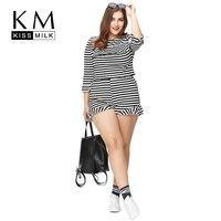 KM Kissmilk Plus Size New Fashion Women Ruffle Comfortable Suit Casual Thin Sets Black And White