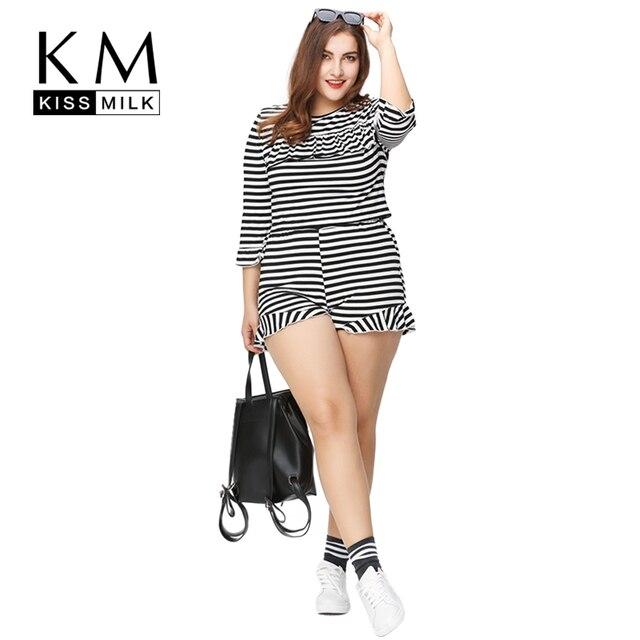 dc62e67b30 Kissmilk Plus Size Mulheres Nova Moda Plissado Confortável Terno Conjuntos de  Listras Pretas e Brancas Casuais