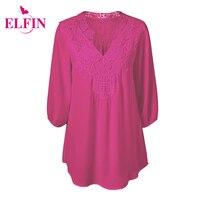 Zomer Vrouwen Blouse Shirt V-hals Sexy Kant Bloemen Haak Patchwork Hollow Tops Vrouwelijke Blouse Shirt Plus Size 5XL LMH02R