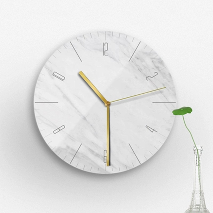 Simple Marble Marble pattern Wall Clock Creative Modern Mute Wall Watch Living Room Decoration Kitchen Saat Home DecorationB1037
