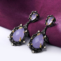 Earrings in vogue Black gold plated Charming Lilac color Vintage drop earrings for women Fall winter Must have item