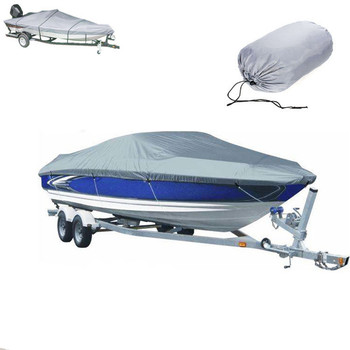 1Pcs Boat Cover Waterproof PU Dinghy Speedboat Fish Ski Tarpaulin Silver 136-145inch