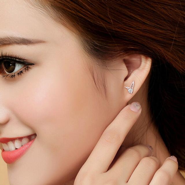 Korean Fashion Silver Jewelry Angel Wings Crystal Ear Stud Earrings