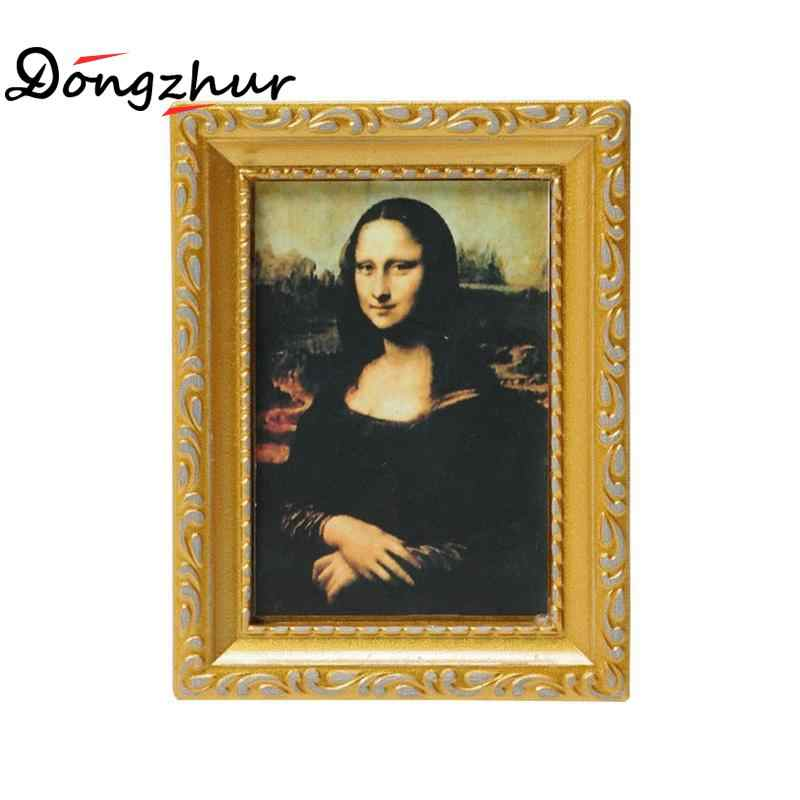 Dongzhur Dollhouse Miniature 1:12 Mini Decorative Accessories Antique Manny Frame Oil Painting Mona Lisa DIY Wooden Doll House