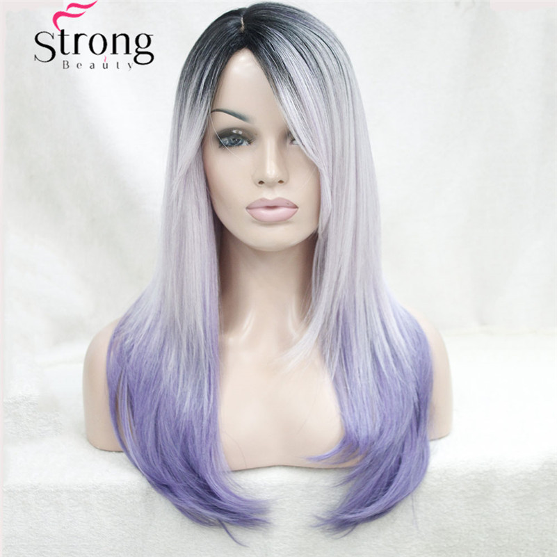 Long Straight Ombre wig purple silver with dark roots SKIN TOP WIG Side Swept Bangs Synthetic