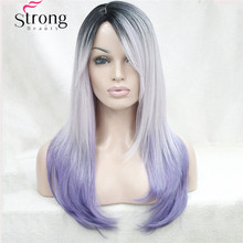 Long Straight Ombre wig purple silver with dark roots SKIN TOP WIG Side Swept Bangs Synthetic Wigs