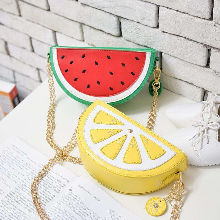 Sweet girl summer New Female bag Quality PU Leather Women bag Cute Fruit packet Chain Shoulder Messenger bag Orange Watermelon