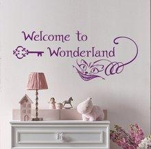 Personalità slogan benvenuto al paese delle meraviglie di animazione del fumetto della parete del vinile applique della ragazza del ragazzo camera da letto decorazione murale ER59