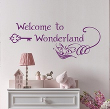 Personality slogan welcome to wonderland cartoon animation vinyl wall applique boy girl bedroom decoration mural ER59