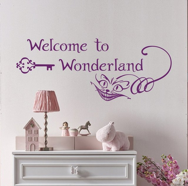 Personality slogan welcome to wonderland cartoon animation vinyl wall applique boy girl bedroom decoration mural ER59