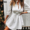Aproms Elegant Cotton Linen 3/4 Sleeve Shirt Dress Summer 2020 Beach Style Drawstring Waist White Loose Dresses Female Vestidos
