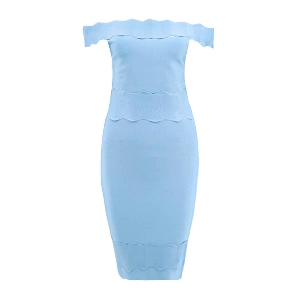 2019 femmes nouveau bleu ciel noir mode célébrité Vestidos robe de soirée sans manches Slash cou Jacquard Mini Bandage robe offre spéciale