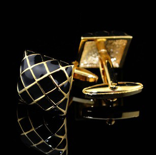 Free shipping Vintage Cufflinks gold color black check design hotsale copper material cufflinks whoelsale&retail